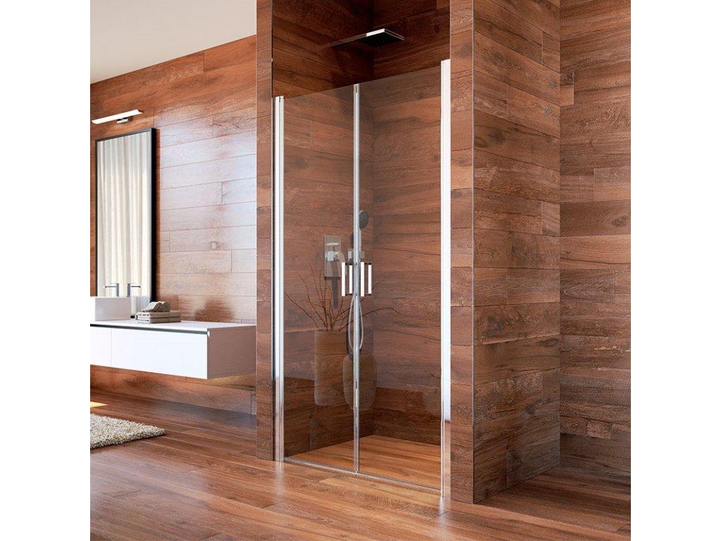 Sprchové dveře, LIMA, dvoukřídlé, lítací, chrom ALU, sklo