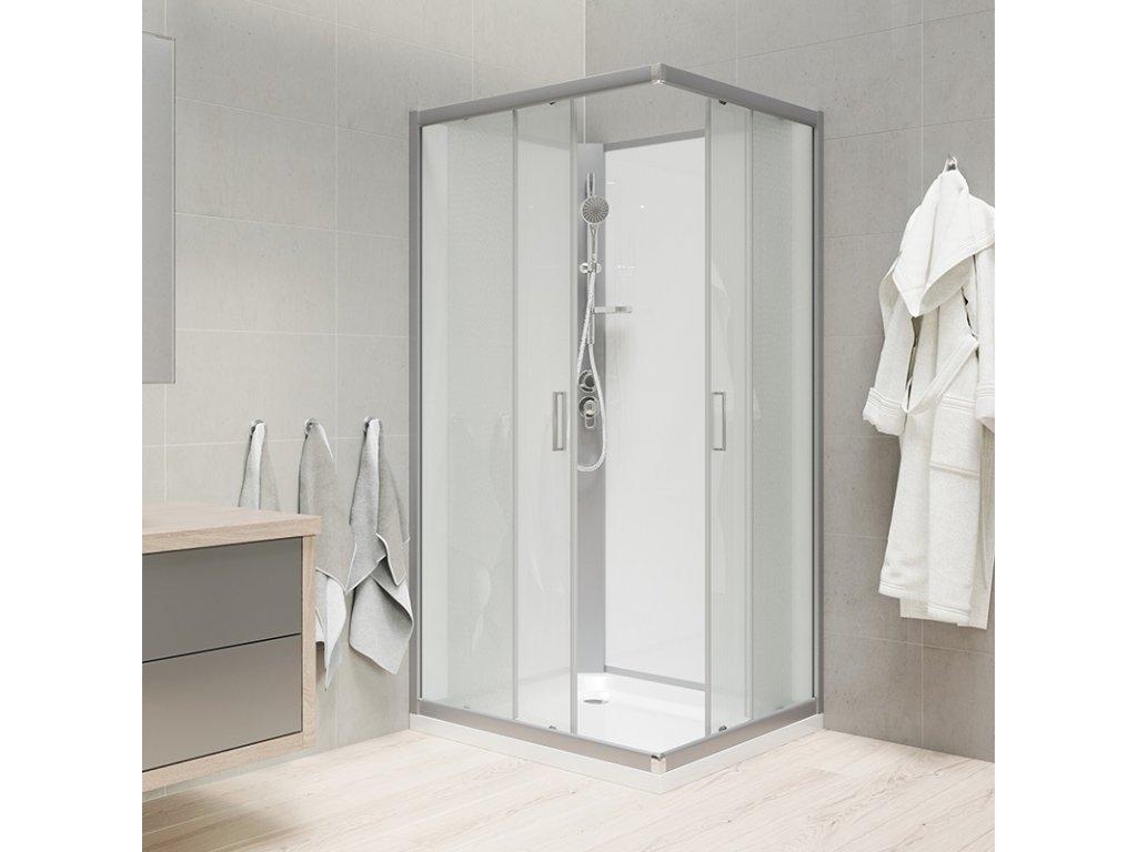 Sprchový box, čtvercový, 90 cm, profily satin, sklo Point, záda bílá