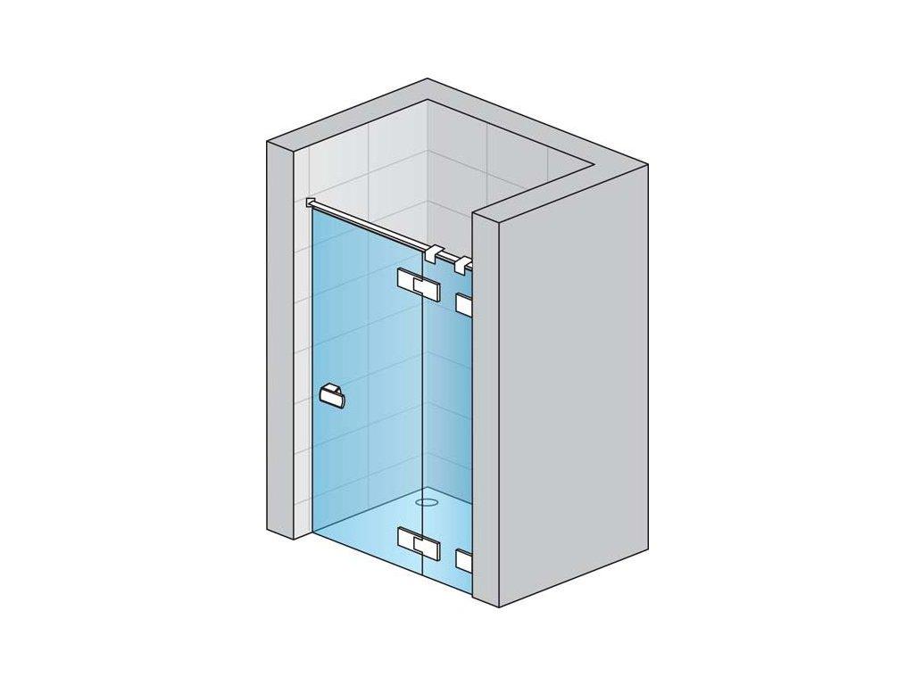 Jednokřídlé dveře s pevnou stěnou v rovině s L-kováním s vyrovnávacím profilem