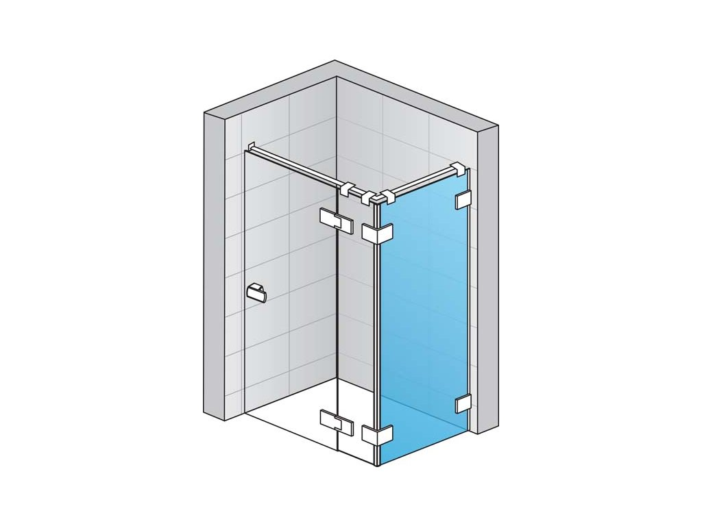 Boční stěna (pro montáž v 90° na straně pevné stěny) s L-kováním s vyrovnávacím profilem