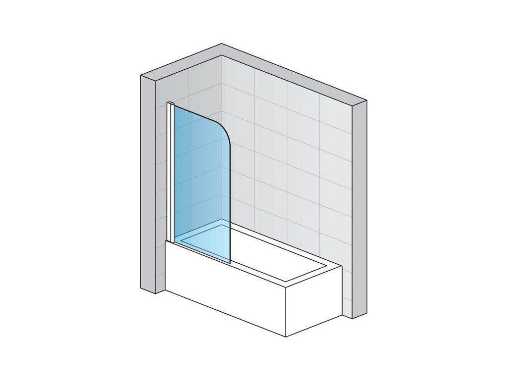 Jednokřídlá vanová zástěna