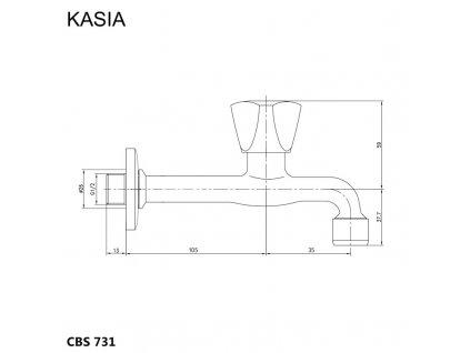 """Nástěnný kohoutek, Kasia, 1/2"""", chrom"""