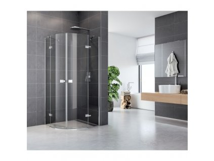 Sprchový kout, Fantasy, čtvrtkruh, 90 cm, R550, chrom ALU, sklo Čiré