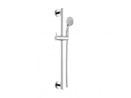 Sprchová souprava, pětipolohová sprcha, dvouzámková nerez hadice, stavitelný držák, plast/chrom