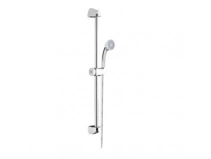 Sprchová souprava, jednopolohová sprcha, sprchová hadice, nastavitelný držák, plast/chrom