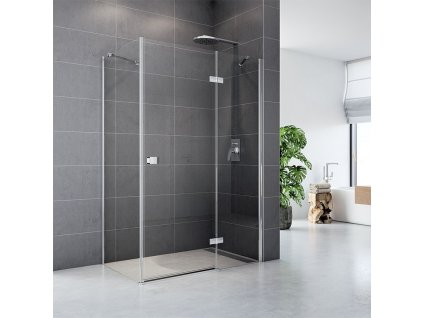 Sprchový kout, Fantasy, obdélník, chrom ALU, sklo Čiré, dveře a pevný díl