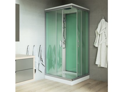Sprchový box, čtvercový, 90x90 cm, satin ALU, sklo Point, s vaničkou