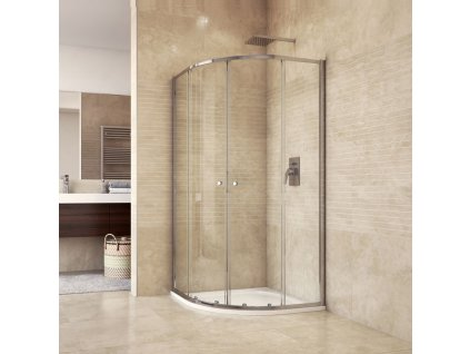 Sprchový set CK35123H se sprchovou vaničkou nebo žlabem, čtvrtkruh, 90 cm, chrom, čiré