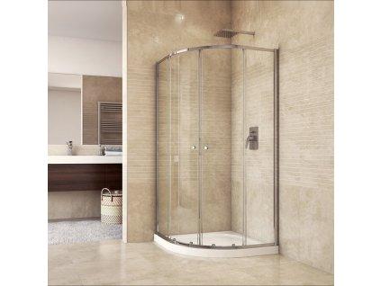 Sprchový set CK35133H se sprchovou vaničkou nebo žlabem, čtvrtkruh, 80 cm, chrom, čiré