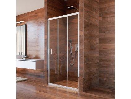 Sprchové dveře, LIMA, trojdílné, zasunovací, chrom ALU, sklo Point