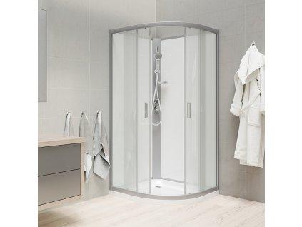 Sprchový box, čtvrtkruh, R550, profily satin, sklo Point, záda bílá