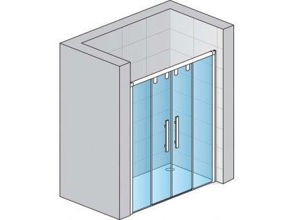Dvoudílné posuvné dveře s 2 pevnými stěnami v rovině