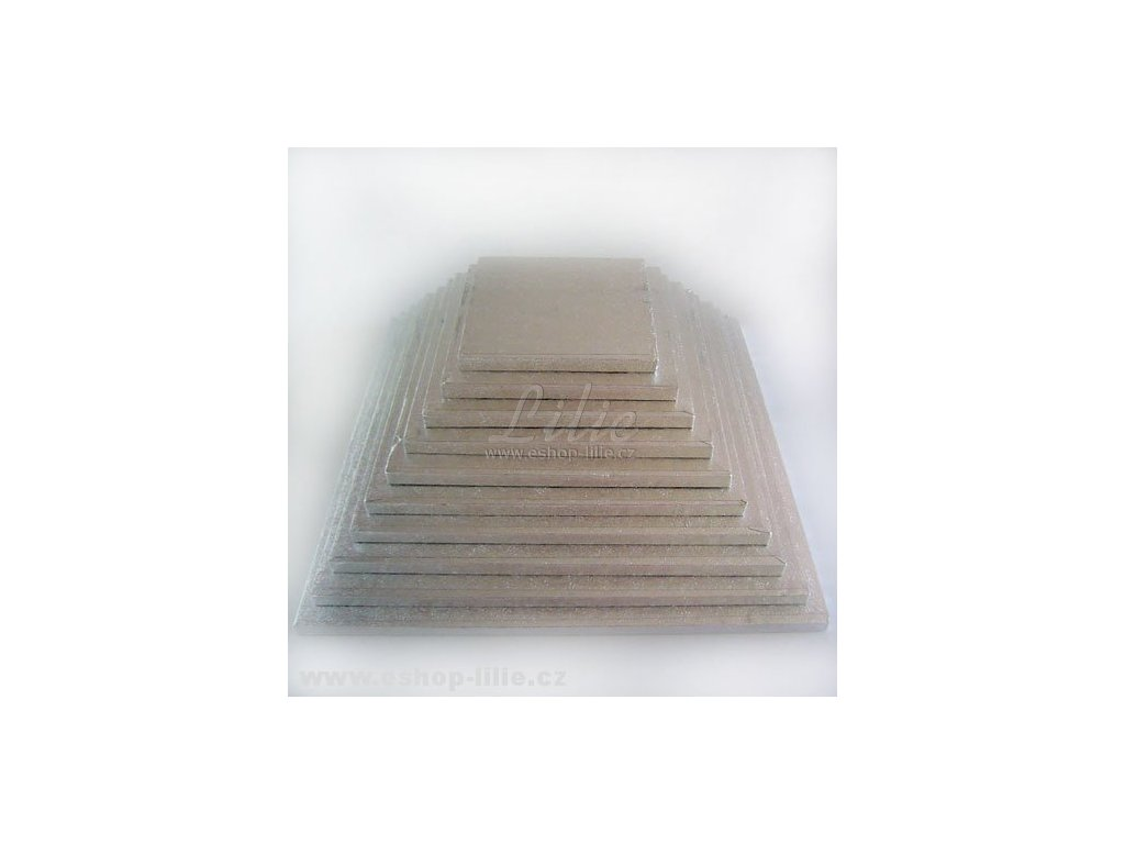 Vyšší dortová stříbrná podložka čtverec FC622VK 22cm