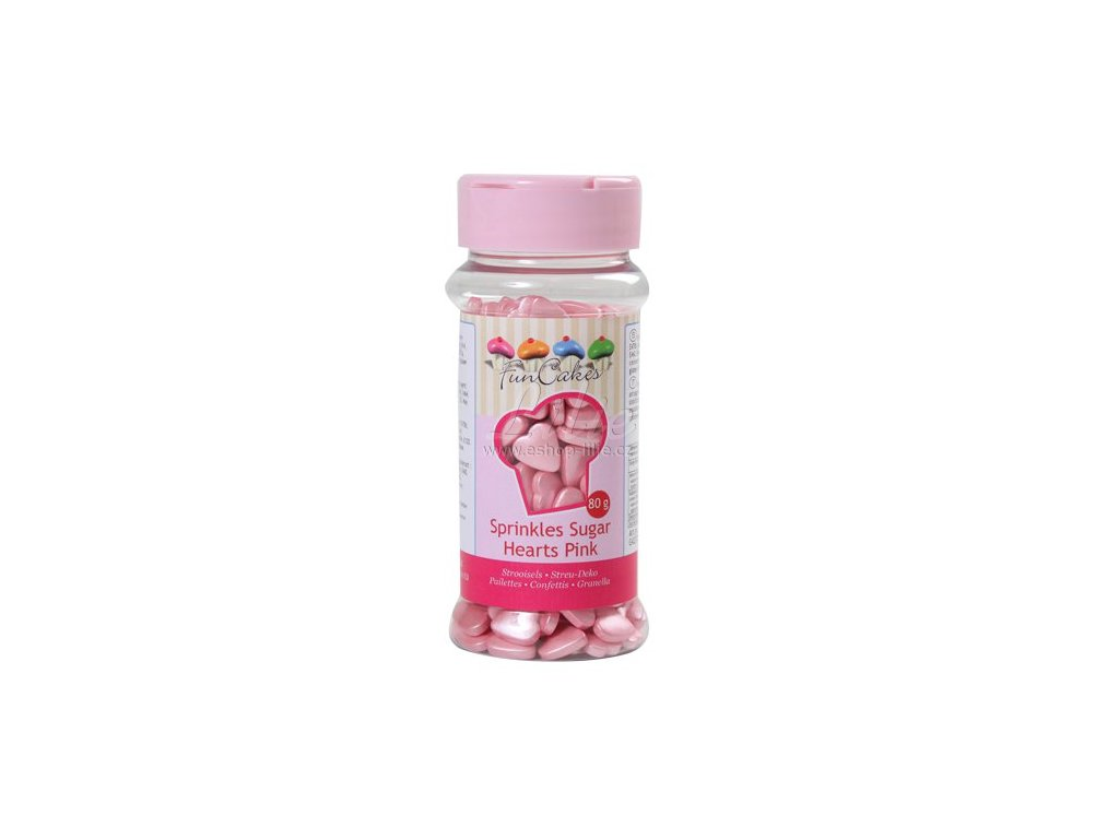 Růžová lesklá srdíčka FunCakes G42372