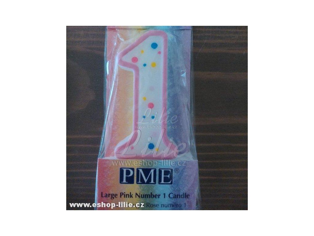 Narozeninová svíčka 1 růžová PME CA081