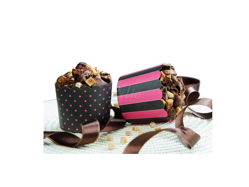 Cukrářské košíčky 12ks 337138 černo růžové