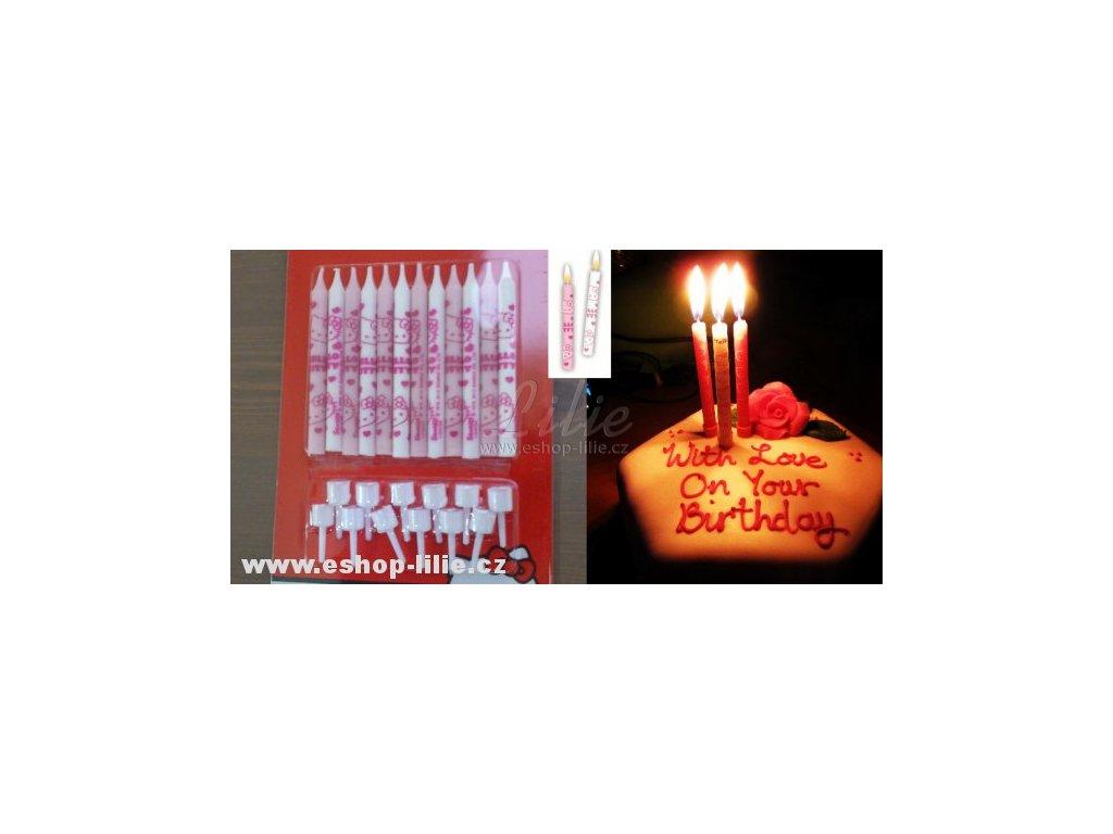 Hello Kitty - sada 12 dortových svíček