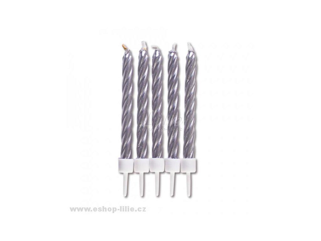Stříbrné dortové svíčky 10kusů 910188