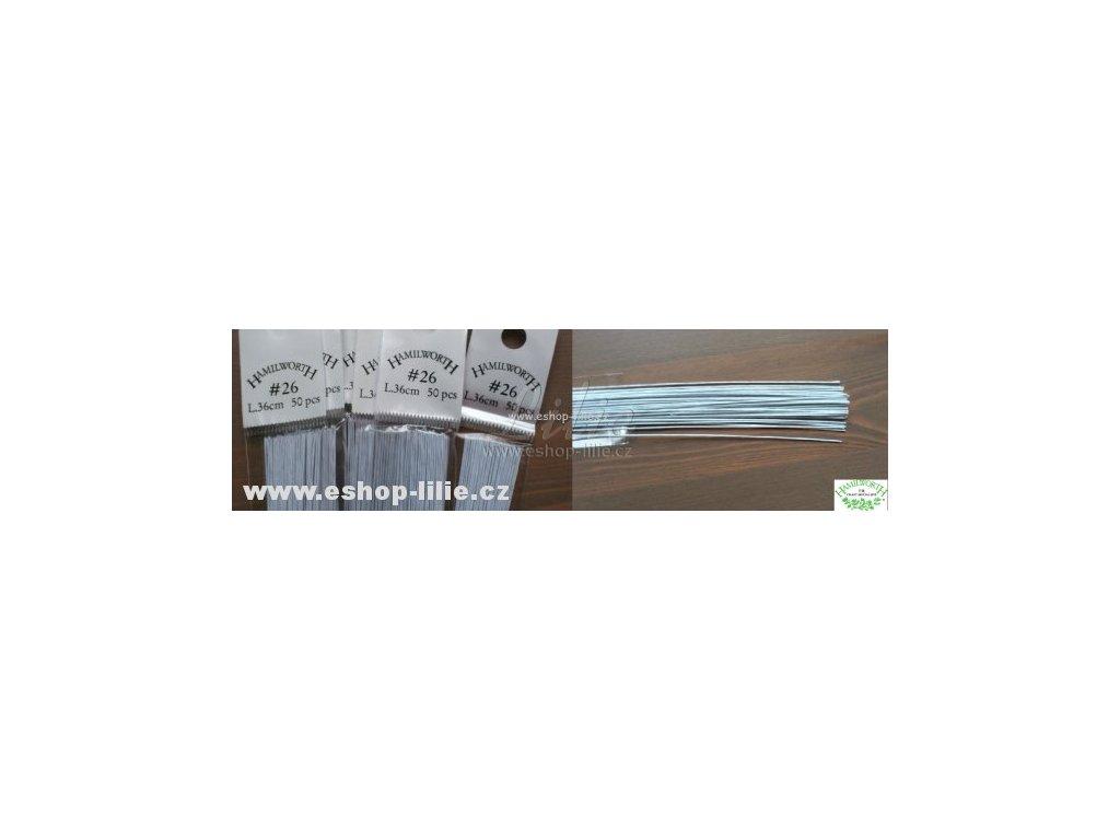 Bílé floristické drátky č.26 50ks Hamilworth