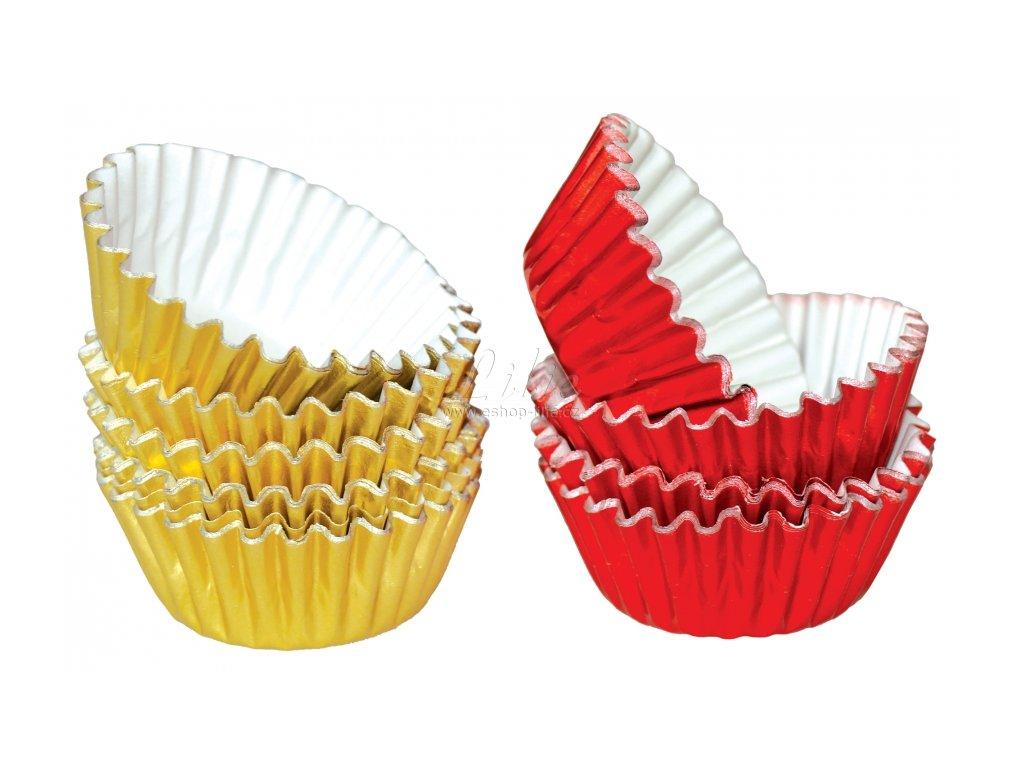 Hliníkové košíčky na pralinky 50 ks P-903 zlaté/červené