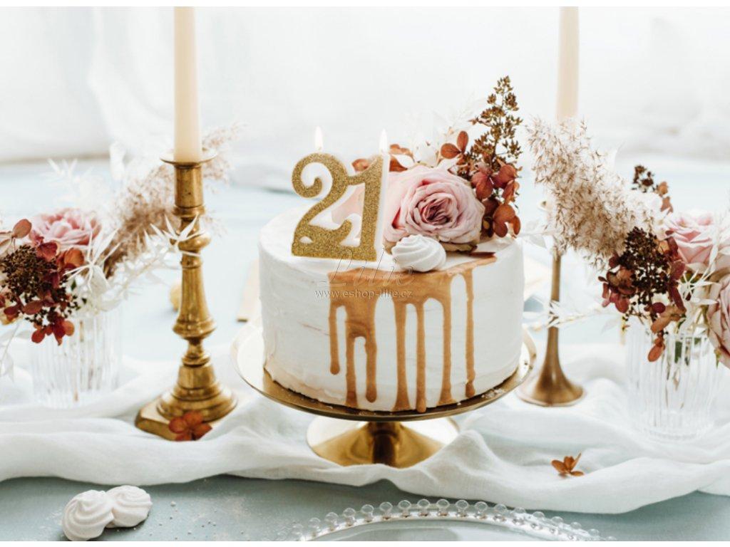 21 zlatá dortová svíčka k zapíchnutí SCU5-21-019