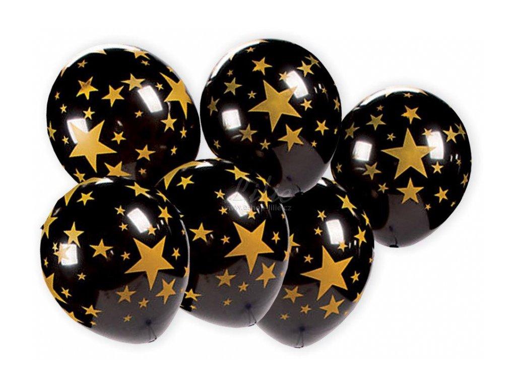 7 balonku se zlatymi hvezdami b26 20180403172809977461025