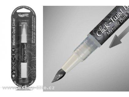TMAVĚ STŘÍBRNÉ metalické pero Click Twist Brush