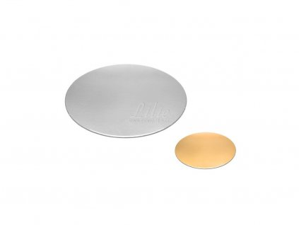 Stříbrno-zlatá slabá podložka pod dort 16cm