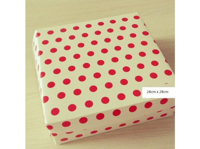 Dortová krabice velký červený puntík 28cm x 28cm / 5ks