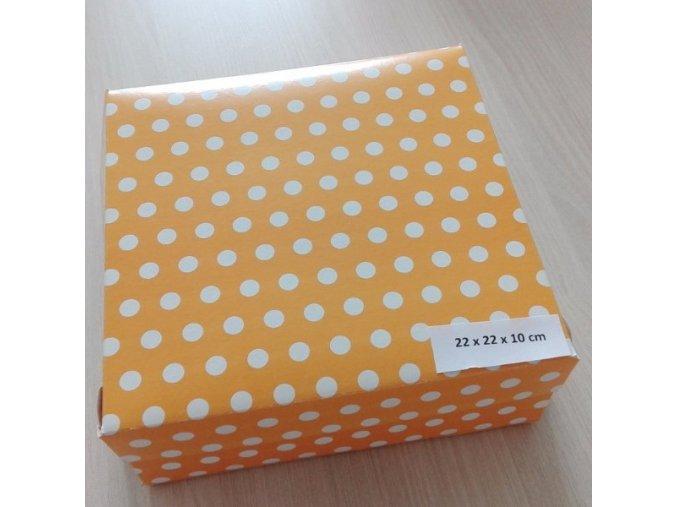 Dortová krabice žlutá a bílý puntík 22cm x 22cm 5ks