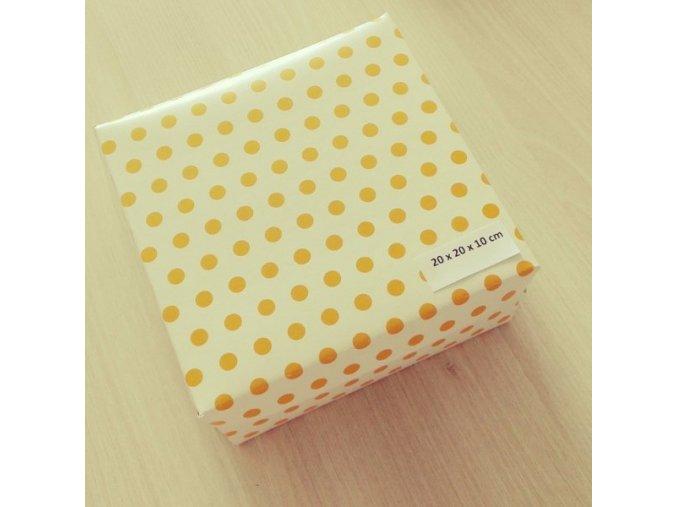 Dortová krabice žlutý puntík 20cm x 20cm 5ks