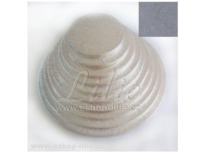 Vyšší dortová stříbrná podložka kruh FC517RD 17cm x 1,2cm