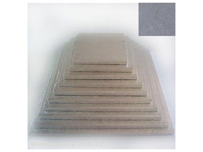 Dortová stříbrná podložka čtverec 30cm x 1,2cm FC630VK