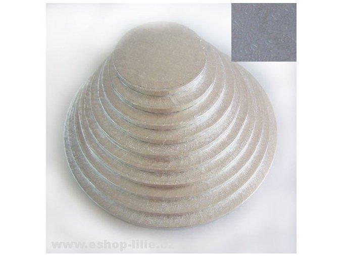 Dortová stříbrná podložka kruh 33cm x 1,2cm (FC533RD)