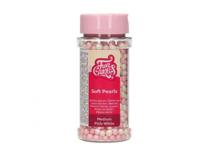 Růžové a bílé cukrové metalické perle G42750