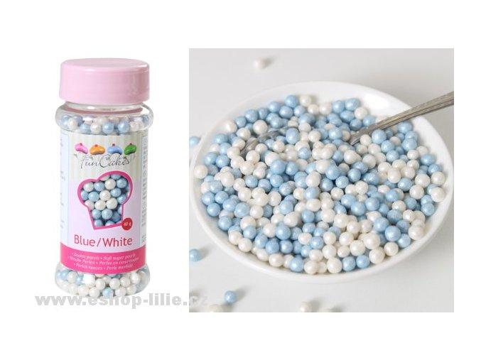 Bílé a modré perleťové perle cukrové zdobení G42755