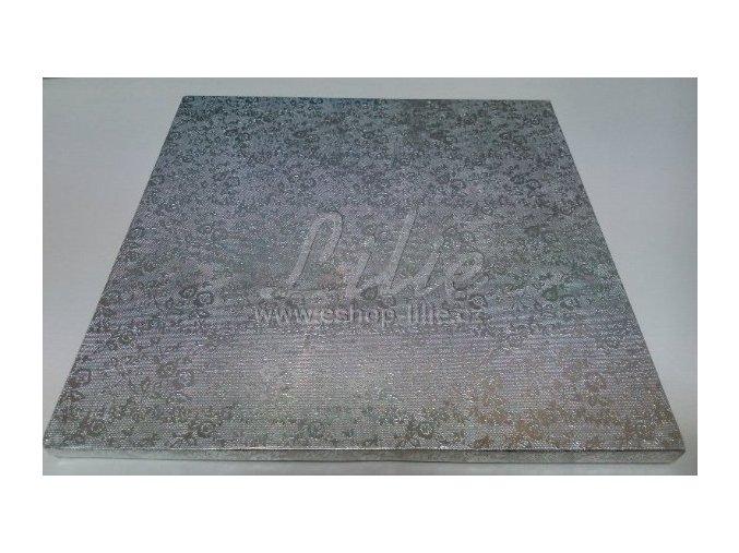 ČTVEREC dortová podložka stříbrná 25cm x 1,2cm