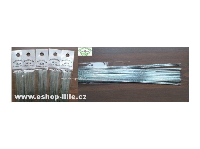 Stříbrné floristické drátky č.24 50ks Hamilworth