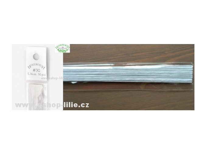 Bílé floristické drátky č.30 50ks Hamilworth