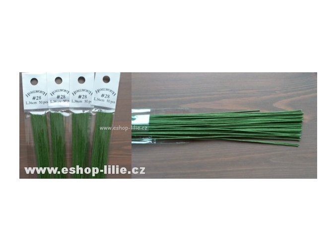 Zelené floristické drátky č.28/50kusů Hamilworth