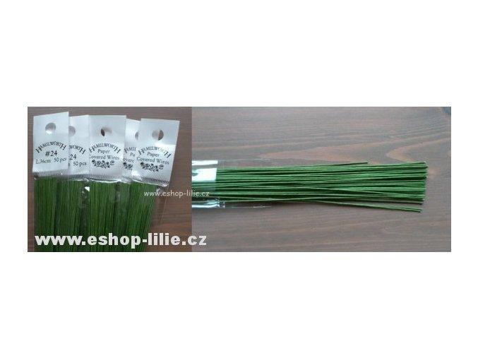 Zelené floristické drátky č.24- 50kusů Hamilworth