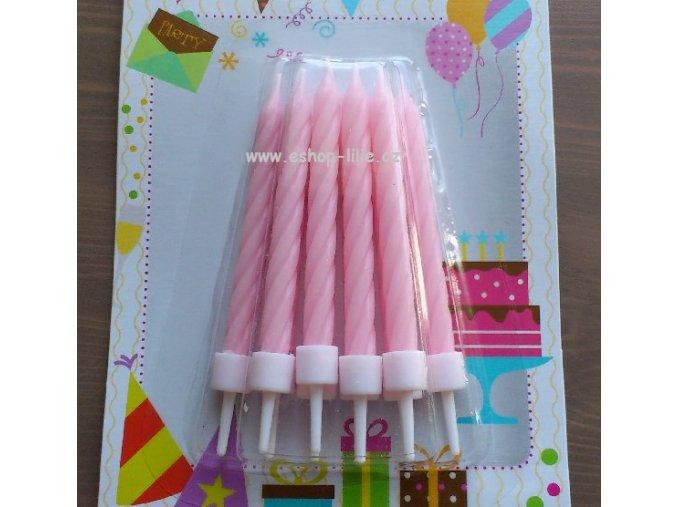 Růžové svíčky s bodcem 10kusů 910157