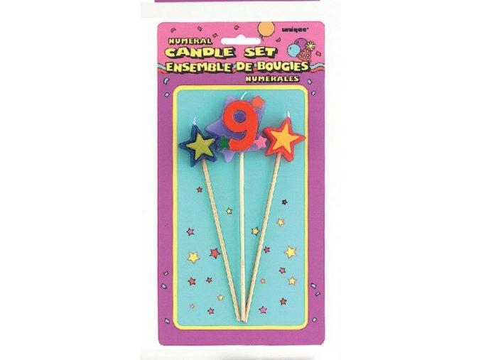 Svíčka 9 s hvězdama 4049