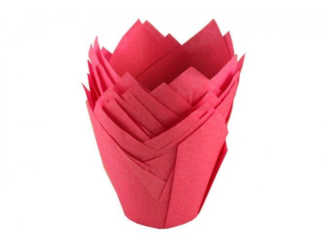 Červené cukrářské tulipánové košíčky 50ks