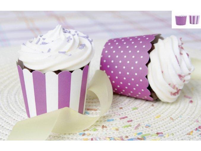 Cukrářské košíčky fialovo-bílé 12ks 337060