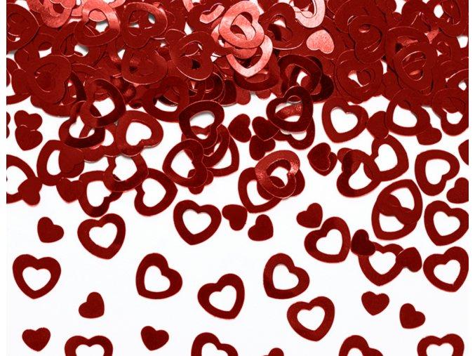 Červená srdíčka plastová dekorace KONS11