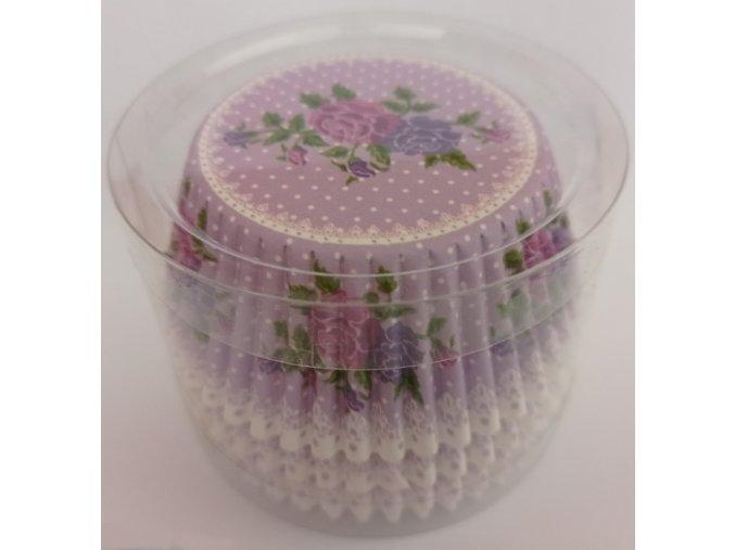 Cukrářské košíčky fialové s růží 100ks MUFB-716