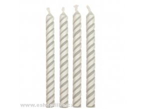 Dortové svíčky bílé s pruhy PME CA027