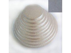 Vyšší dortová stříbrná podložka kruh FC538RD 38cm x 1,2cm