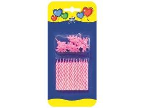 Růžové narozeninové svíčky 12 kusů